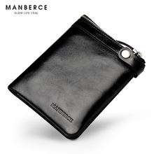 MANBERCE New 2019 Leisure Mens Wallet Cowhide Luxury Leather Short Credit Card Business Mans