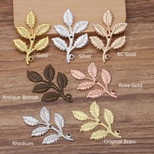 20pcs 32X50mm Gold Color Leaf