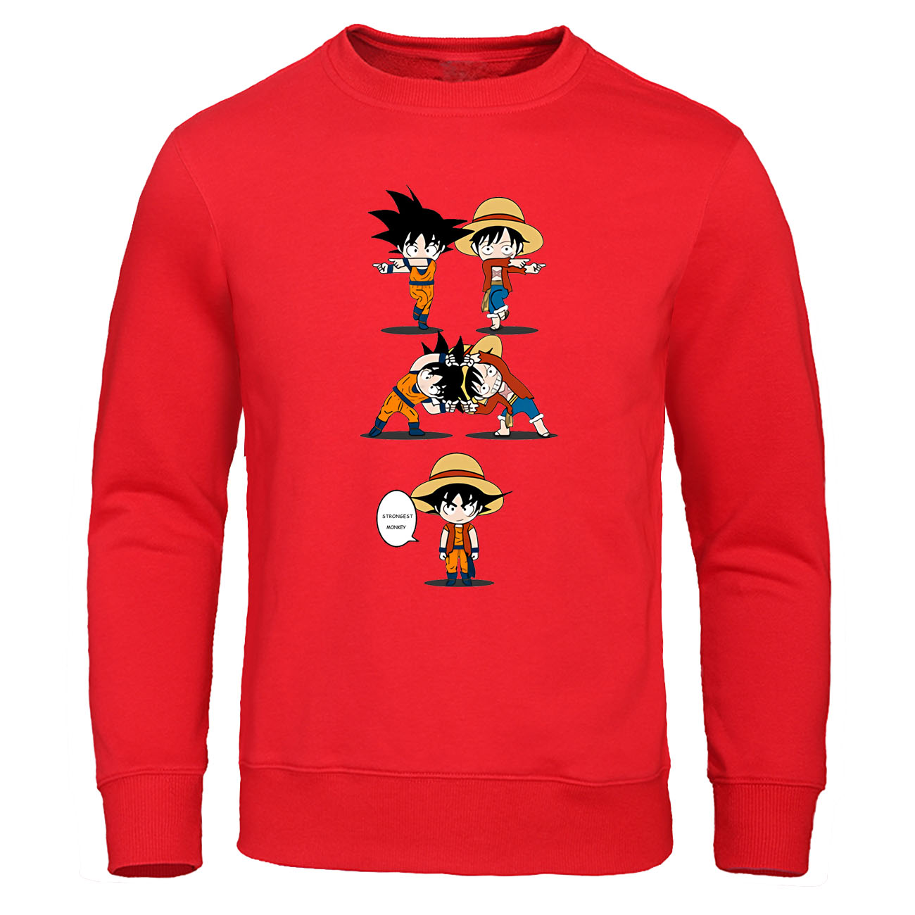 Goku VS Luffy Hoodies Cool Design Pullover Dragon Ball Crossover One Piece Black Sweatshirt Japanese Anime Streetwear Men Hoody