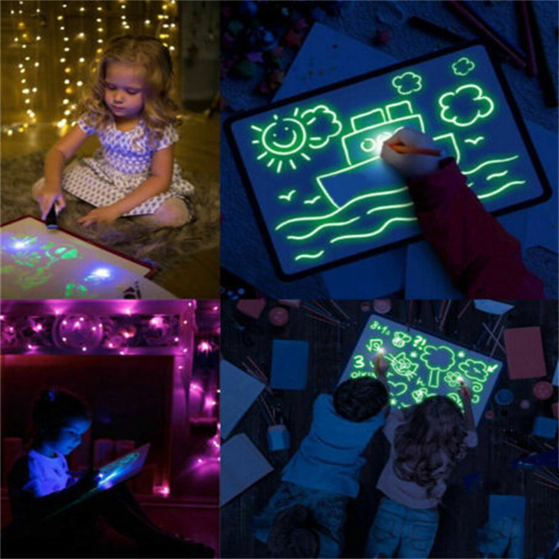 New A5 Drawing With Light Fun And Developing Toy Drawing Board Magic Draw Educational Toys Kids Gift
