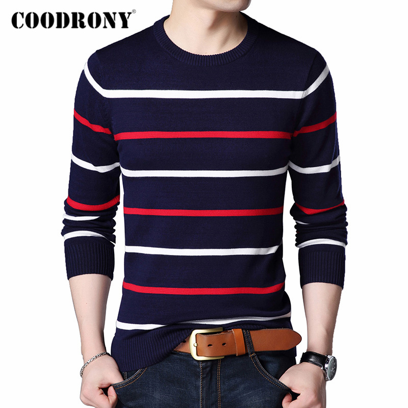 COODRONY Brand Sweater Men Fashion Striped O-Neck Pull Homme Autumn Winter Knitwear Pullover Men Clothes Jersey Hombre Top C1003