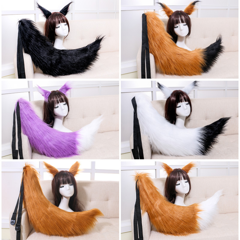 Fox Ears Tail Anime Cosplay Props Spice And Wolf Holo Long Plush Japan Custom