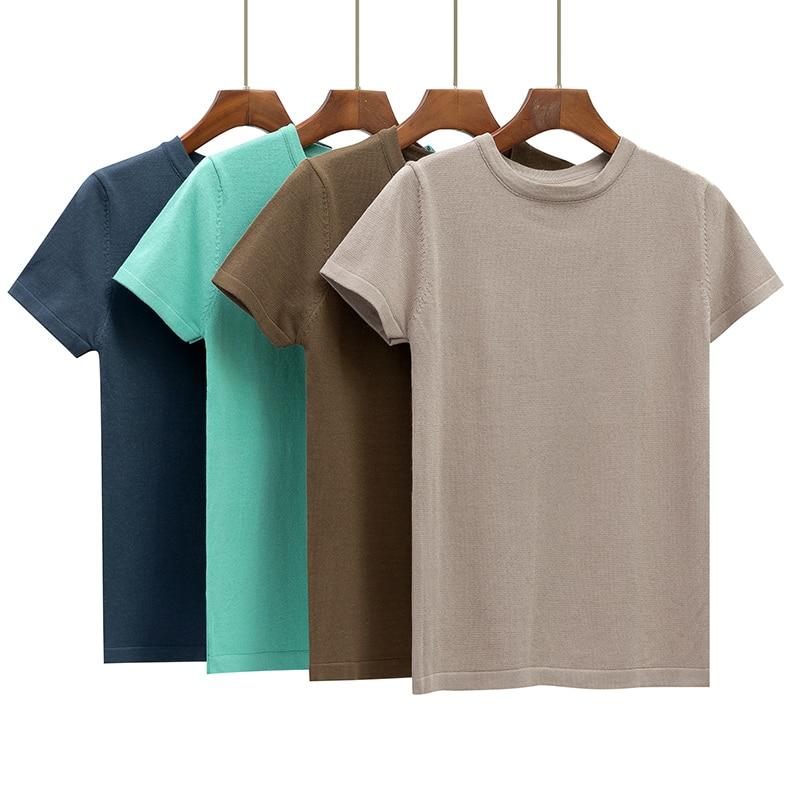 GIGOGOU Basic Cotton Summer T Shirt Women Knitted Short Sleeves Tee Shirt High Elasticity Breathable O Neck Female Top Tshirt(China)