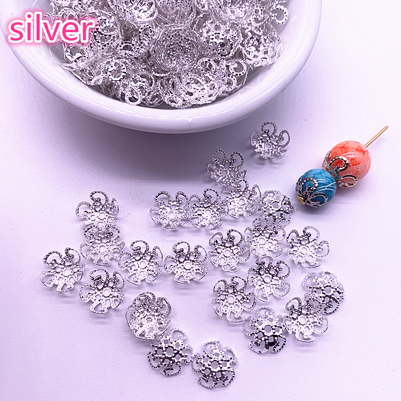 New 150pcs 8/10mm Hollow Flower Findings Cone End Beads Cap Filigree DIY Jewelry Making #04(China)