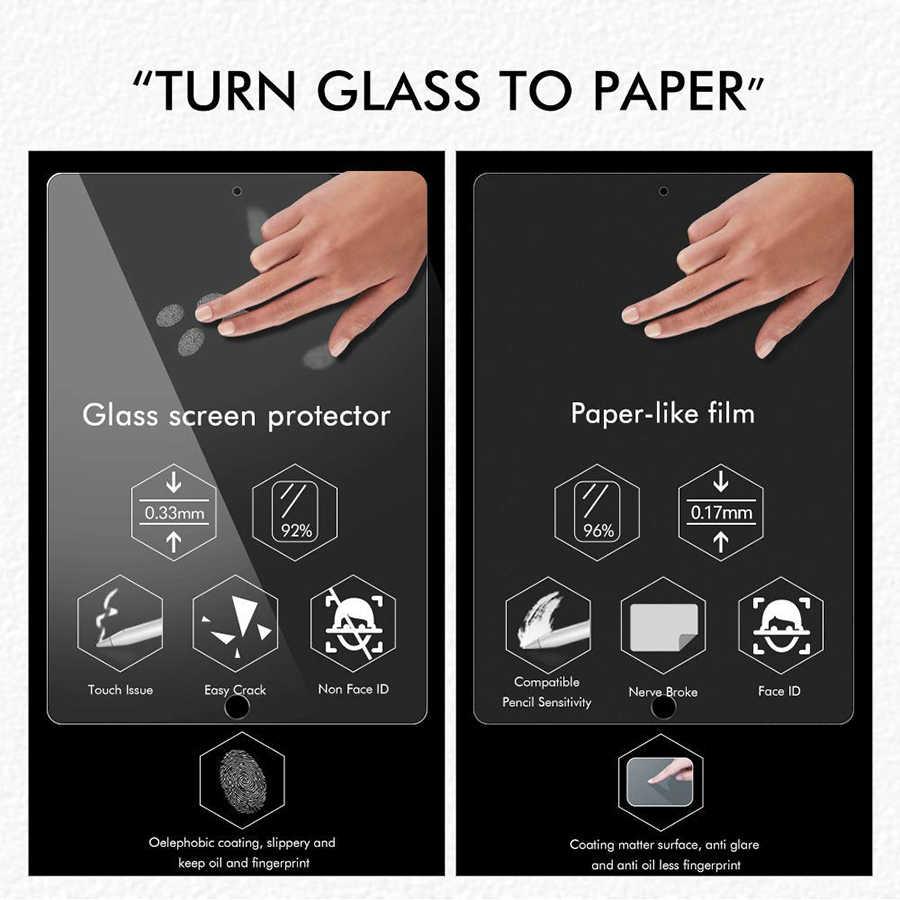 Protetor de tela para ipad parecido com papel, para ipad pro 12.9 11 10.5 9.7 air 1 2 3 mini 4 5 pet fosco película anti-reflexo para apple pencil