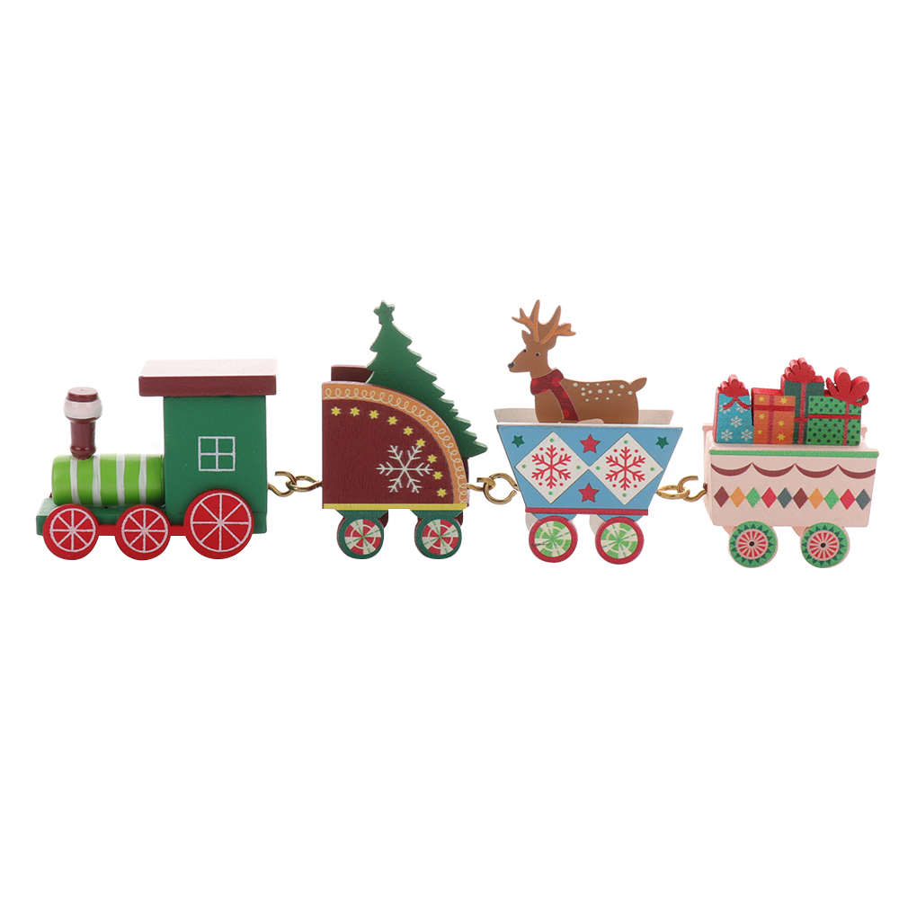 Christmas train painted wood with Xmas kid toys gift ornament navidad Christmas Decoration for home new year gift