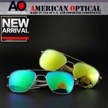 Qualidade superior do exército americano militar piloto ao óculos de sol espelho lente de vidro dos homens marca designer condução óculos masculino op55 op57