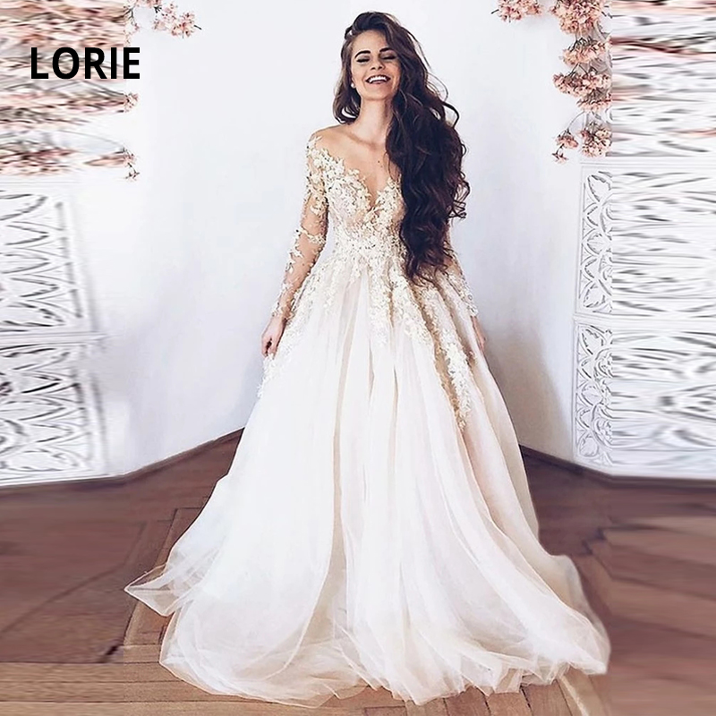 LORIE Long Sleeve Elegant Lace Wedding Gowns For Bride Lace Appliqued Sot Tulle Back Illusion Wedding Dress Plus Size Customized