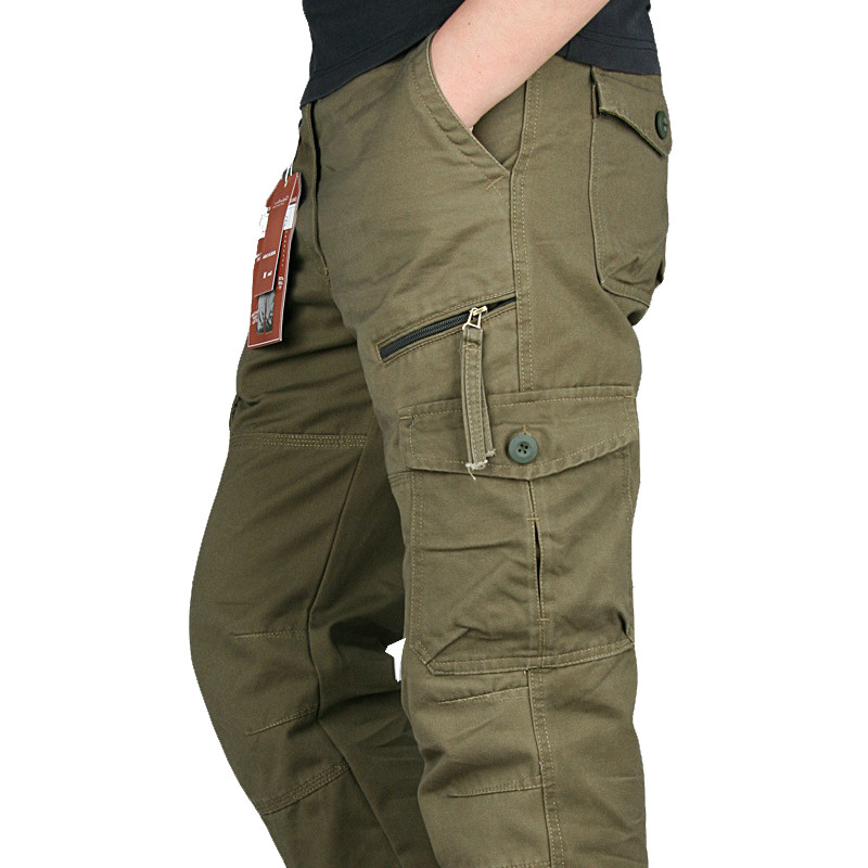 New 2019 Men Cargo Pants Multi Pockets Military Tactical Pants Men Outwear Streetwear Army Straight Slacks Casual Long Trousers