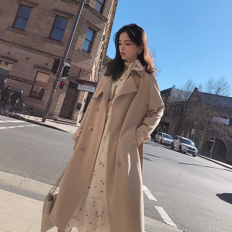Mishow Women 2019 Autumn Light Khaki Coat Suit Collar Double-breasted Mid-long Outerwear Female Autumn Trench Coat MX19C7339