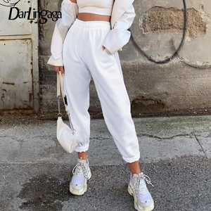 Darlingaga Autumn Winter 100% Cotton Casual Pants Sweatpants Baggy Trousers Solid Elastic High Waist Pants Workout Sporty Bottom