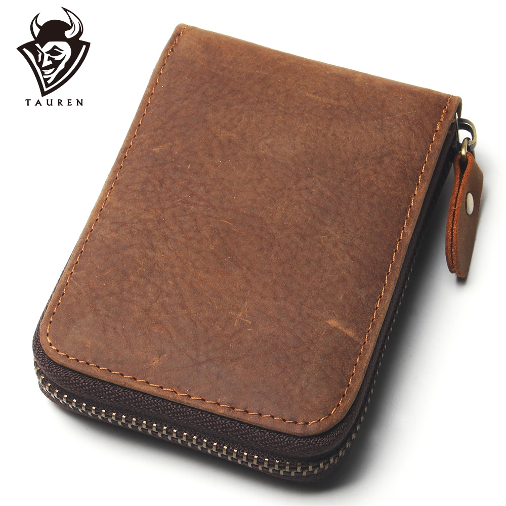 12 Card Slots Crazy Horse Leather Card Purse Men Wallet Women ID Credit Card Zipper Mini Purse With Multi Card Slots Designs