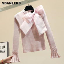 Organza Bow Sweater Slim-Fit Sweater Women's Loose-Fit Outer