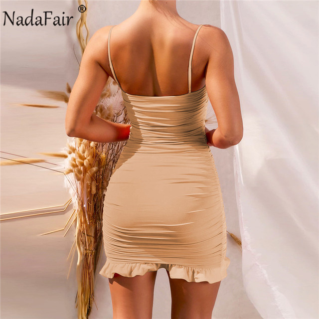 Nadafair Ruffles Sexy Dress Women Summer Party Clubwear 2021 Spaghetti Strap Ruched Bandage Mini Short Bodycon Women's Dress 5