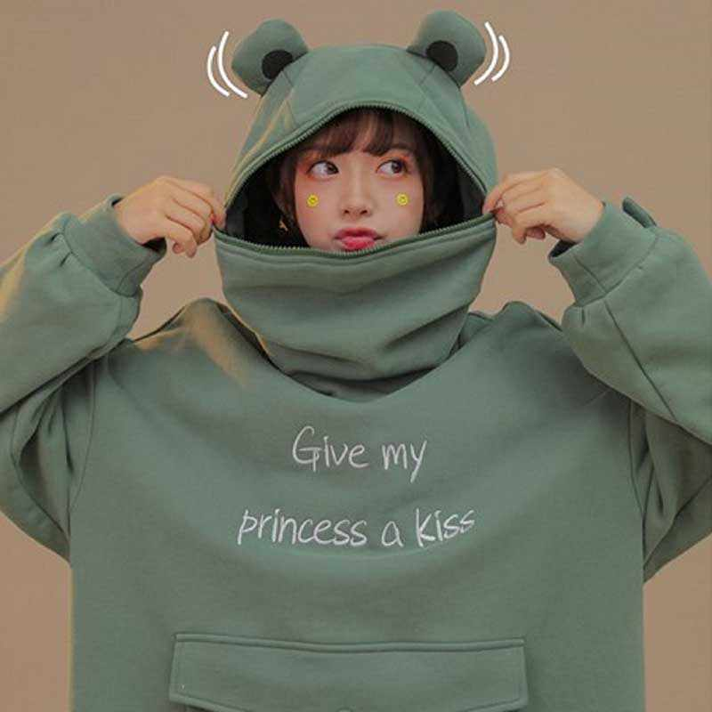 Women Fall Thick Loose Sweatshirt Cute Green Frog Casual Hooded Hoodies Pullover