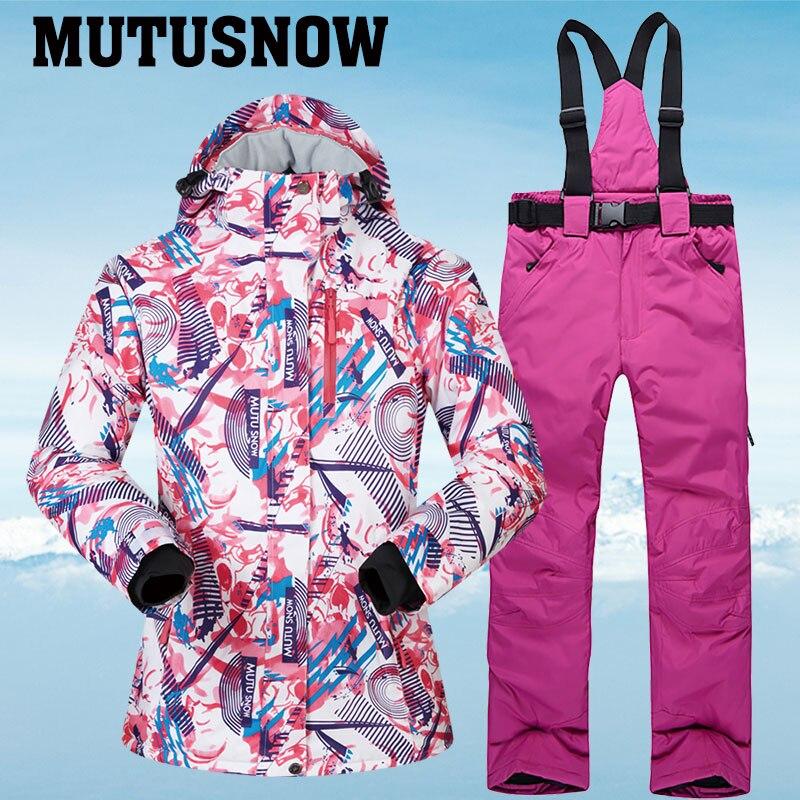 Женские лыжные костюмы, зимний женский лыжный костюм, одежда для катания на лыжах и сноуборде, ветрозащитные водонепроницаемые лыжные куртки и штаны для женщин