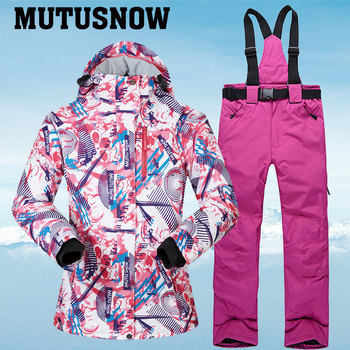 Ski Suits Women Winter Snow Suit Female Skiing and Snowboarding Clothes Windproof Waterproof Outdoor Ski Jackets and Pants Women цена 2017