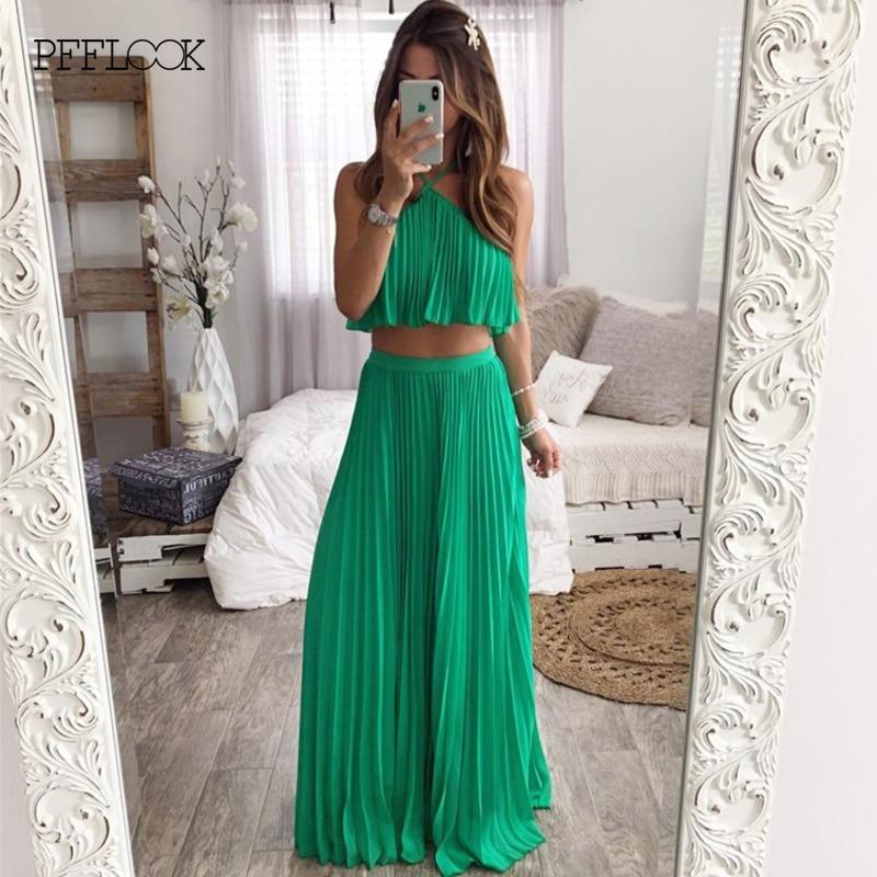 PFFLOOK Summer Chiffon Sexy Women Dress Backless Sleeveless Retro Maxi Dress Elegant Holiday Party Long Dresses Vestidos Green