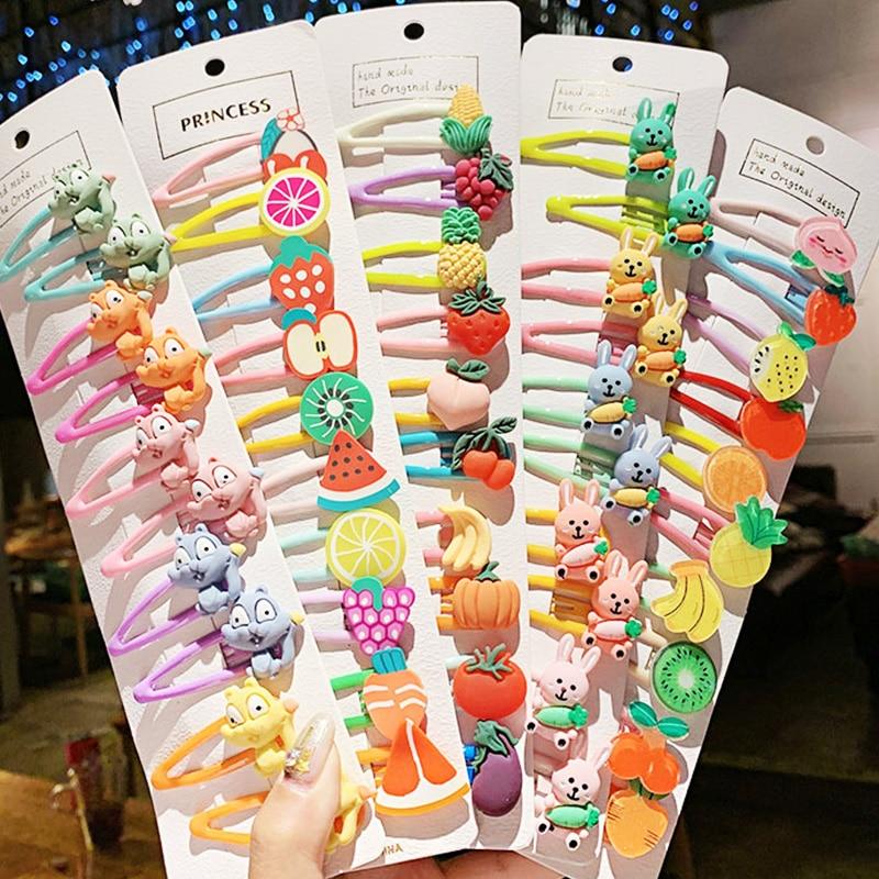 1 Juego de horquillas de pelo de colores de frutas de animales de dibujos animados bonitos para niñas, horquillas de pelo dulces para niños, accesorios para el cabello a la moda para niños