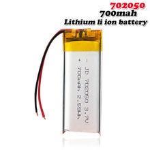 702050 3.7V 700mAh litowo-polimerowa bateria litowo-jonowa do MP3 MP4 moc GPS Bank inteligentny zegarek z kamerą megafon z ładowarką komórki