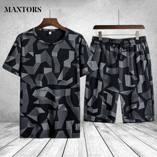2021 roupa de treino dos homens duas peças conjunto t-shirts shorts chandal hombre marca terno de pista camisetas esportivas topos conjuntos masculinos