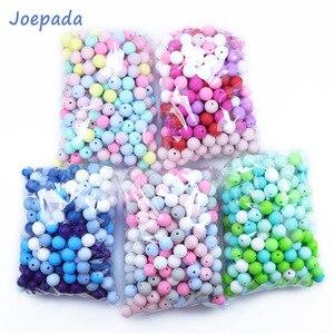 Image 1 - Joepeada 300 Pcs/lots 12mm עגול סיליקון חרוזים מזון כיתה סיליקון מכרסמים עבור DIY תינוק בקיעת שיניים שרשרת תינוק Teether