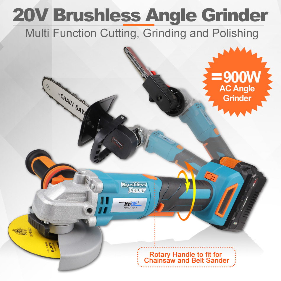 Tools : NEWONE Electric Power Tool 20V Li-ion Cordless Impact Drill Screwdriver Cordless Brushless Angle grinder Combo Kit Grinding