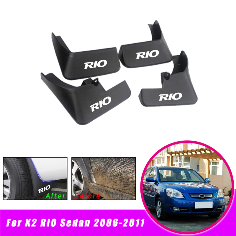 Mud Flaps Splash Guards Fender Mudguard Kit For KIA RIO 2006-2011 07 08 Black
