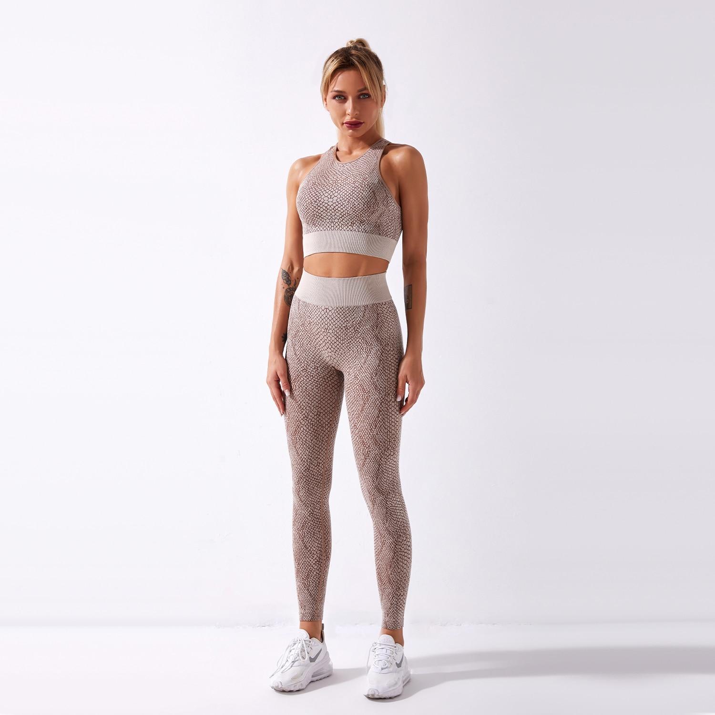Conjunto deportivo con diseño de serpiente para mujer, sujetador sin costuras y leggings de cintura alta para gimnasio, ropa deportiva de 2 piezas, ropa para entrenamiento tipo tanque