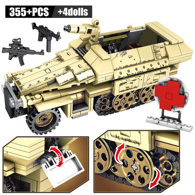 SEMBO WW2 German Armored Car Model Bricks Military Tank Technic Assault Trucks Building Blocks Educational Toys For Boys