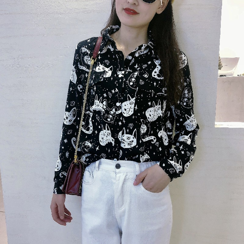 Women Harajuku Shirt Kitten Print Autumn Long Sleeve Tops And Blouses Office Lady Long Sleeve White Black Blouses