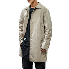 Men's Clothing 2019 Single Breasted Medium-Long Trench Coat Male Solid color Kha
