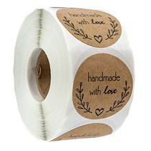 1 Roll 500pcs Romantic Olive Branch DIY Craft Home Decoration Stationery Tags Paper Handmade With Love Round Sticker Christmas