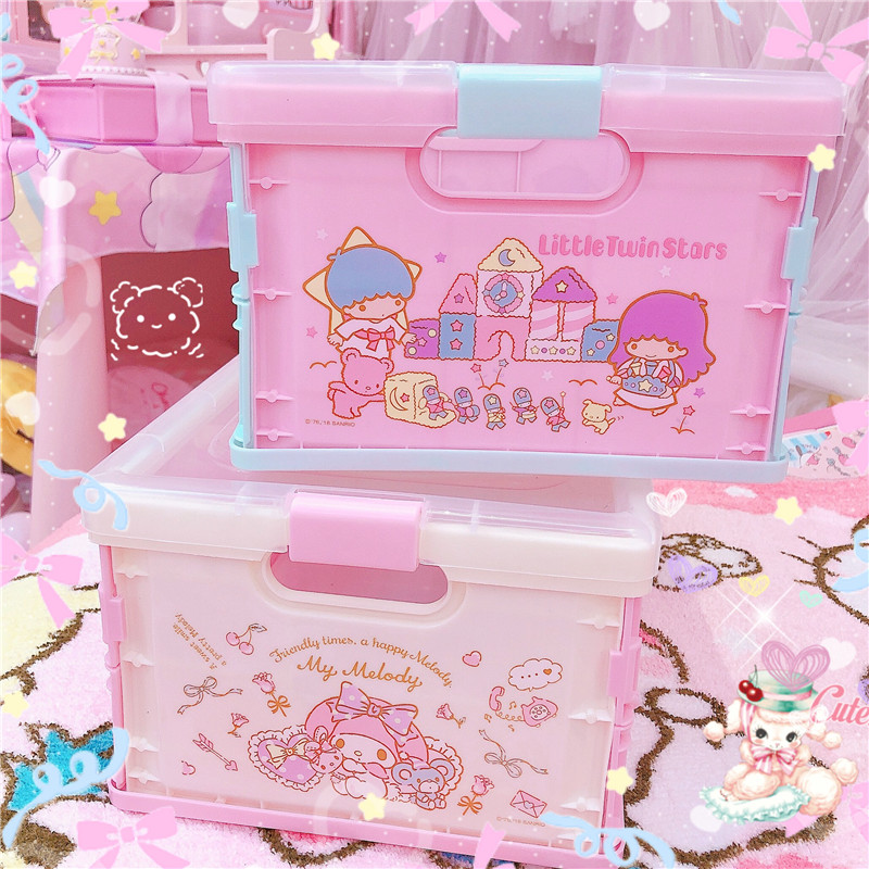 Large Capacity Melody Little Twin Stars Fashion Anime Storage Boxes Bins Home Beauty Case Cosmetic Box Pouch Makeup For Girls