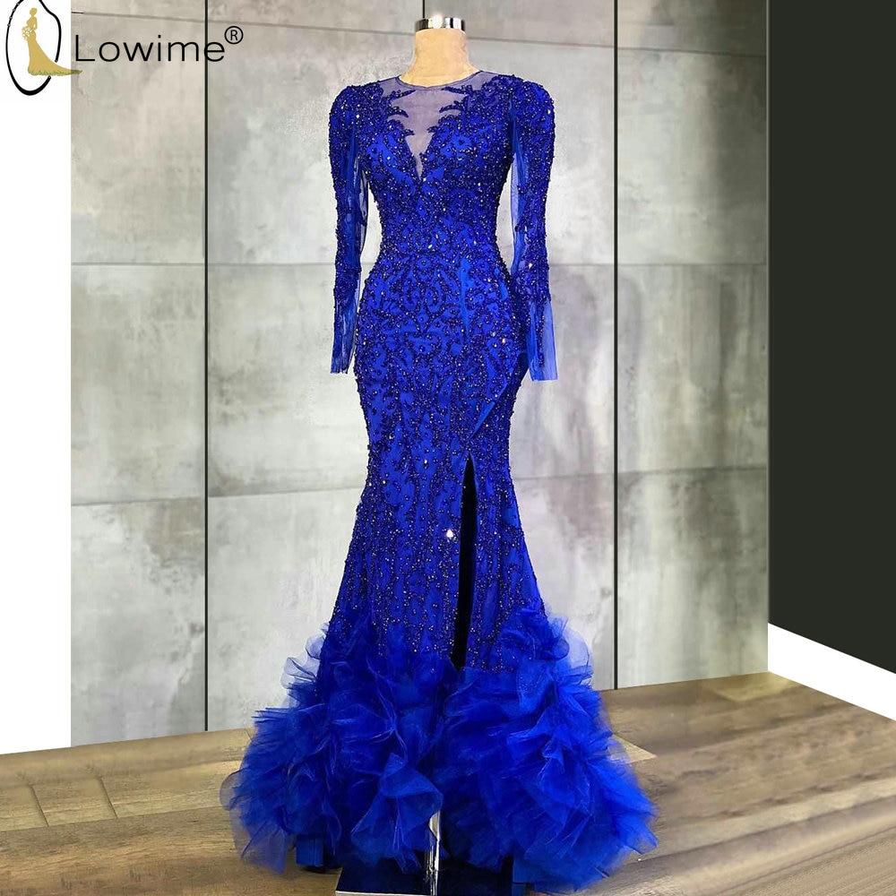 Vestido De Festa Royal Blue Long Sleeve Full Beading Mermaid Evening Dresses Ruffles Abendkleider Robes Dubai Party Gowns