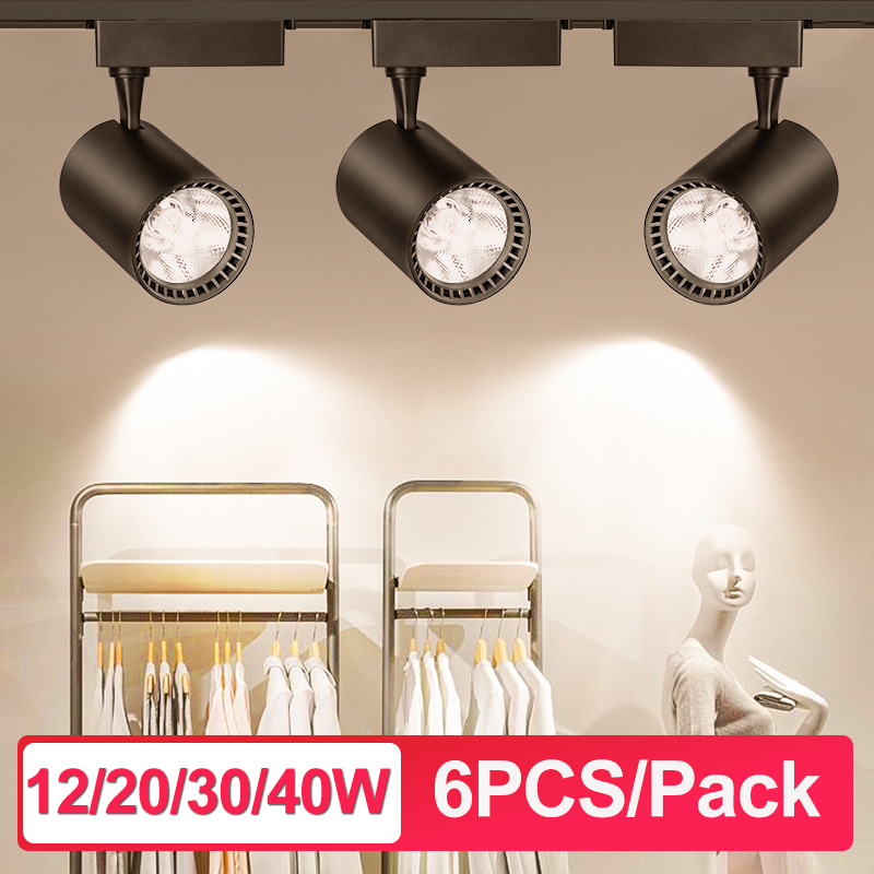 6pcs Led Track Lights 12W 20W 30W 40W cob Track Lamp Lighting 220V Spotlights Light Fixture with 50cm 1M Aluminum Track Rail