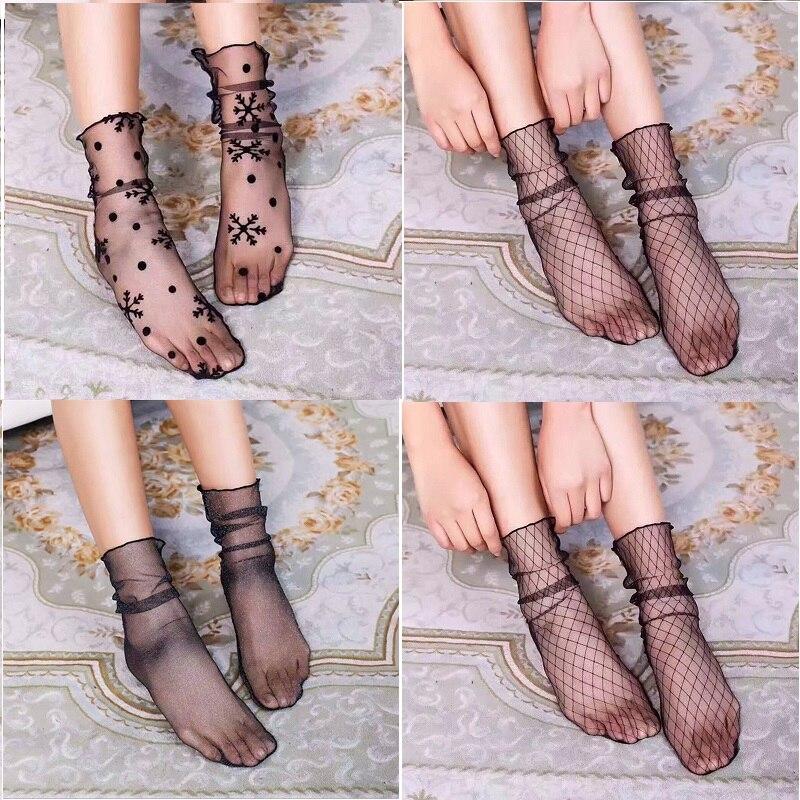 Summer Sexy Woman Socks with Print Dot Women's Short Socks Mesh Fishnet Ruffle Lace Silk Transparent Women's Nylon Socks