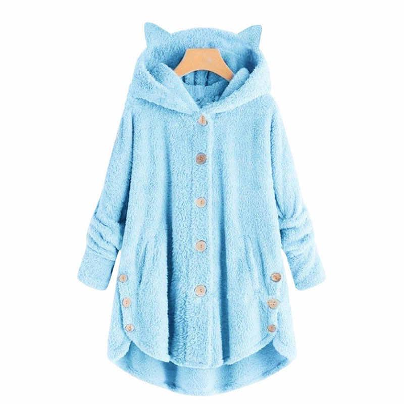 Musim Dingin Hoodies Wanita 2019 Musim Gugur Sweatshirt Wanita Mantel Fashion Tombol Berkerudung Pakaian Wanita Kucing Telinga Plush Top Warna Solid Jaket