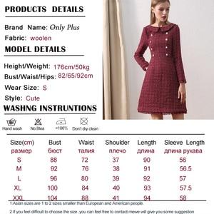 Image 5 - Only Plus OL Woolen Winter Dress For Women Peter Pan Collar Tweed Dress Vintage Wool Plaid Wine Dresses Warm Elegant Button