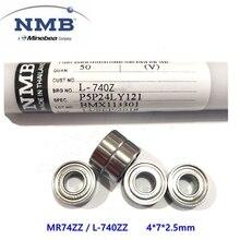 100pcs/lot high quality  high speed NMB Minebea MR74ZZ L-740ZZ 4*7*2.5mm deep groove ball bearing ABEC-5 4x7x2.5mm 674ZZ