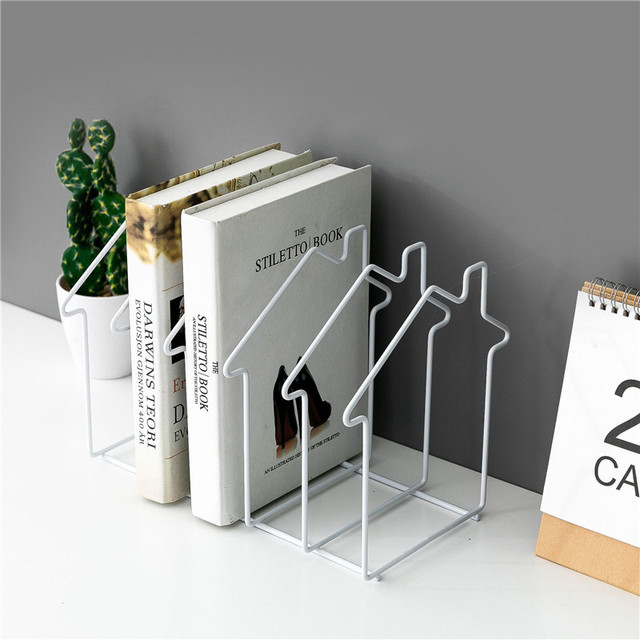 Magazine Holder Rose Gold House Shape File Sorter Metal 5 Slot Desk Organizer Rack for Document Folder Letter and Book