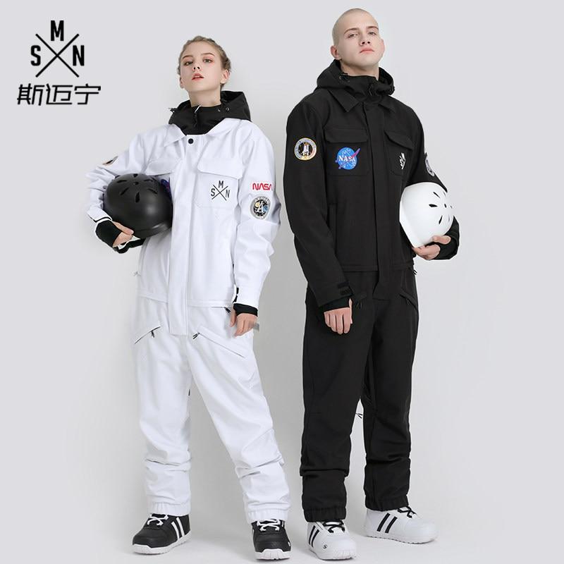 SMN One Piece Women Men Ski Suit Windproof Waterproof Unisex Skiing Snowboard Jacket Winter Clothing Outdoor Sport Wear Male New