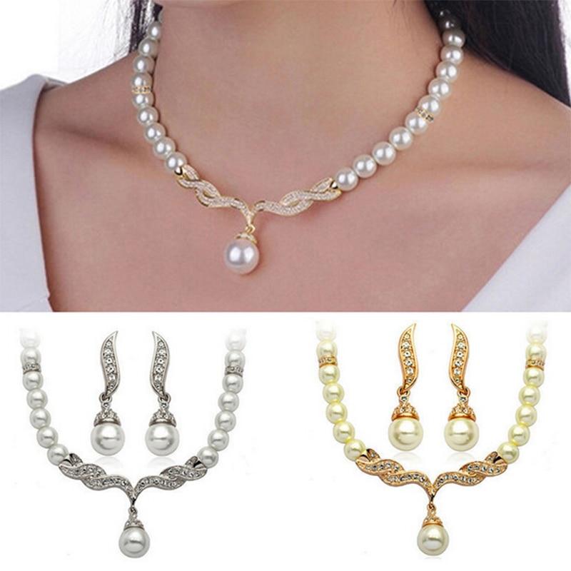 2019 Fashion Rhinestone Earrings Wedding Bridal Pearl Crystal Creative Gold Color Necklace 1Pair Jewelry Set Women Lady Female