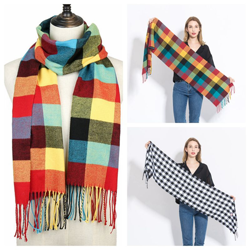 2019 Hot sale plaid cashmere women scarf winter warm shawl and wraps bandana pashmina soft long tassel female foulard bufandas