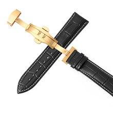 Pulseira de couro dupla-imprensa borboleta automática fivela 12-24mm pulseiras de relógio 20 pulseira de relógio 22mm pulseira de relógio