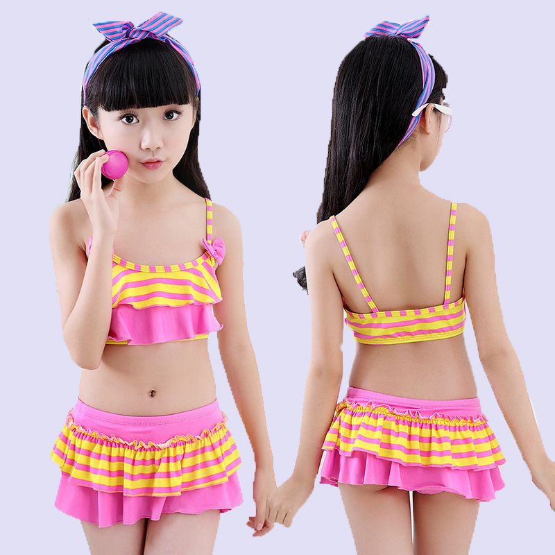 KID'S Swimwear Girls Stripes Swimwear Students Bikini Set Small Middle And Large Cute Princess Style Two-piece Swimsuits