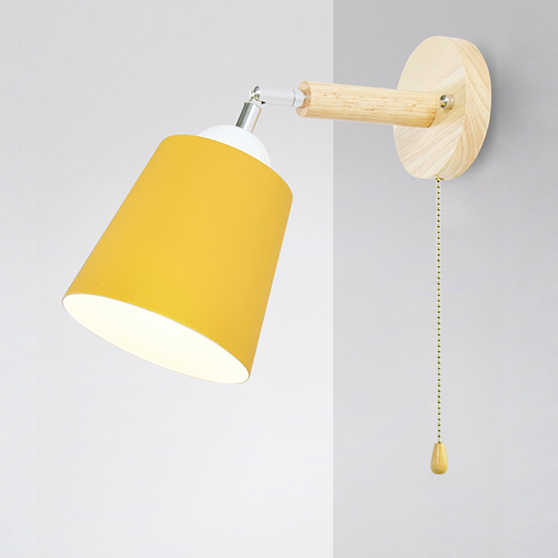 Image 2 - Wooden wall lights bedside wall lamp with switch wall sconce modern wall light for bedroom Nordic macaron steering headLED Indoor Wall Lamps   -