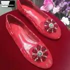 Kristall Spitze Runde Kappe Flache Schuhe Frauen Aus Echtem Leder Wohnungen Müßiggänger Rot Hochzeit Slip Ons Schuhe Weibliche Atmungs Casual schuhe