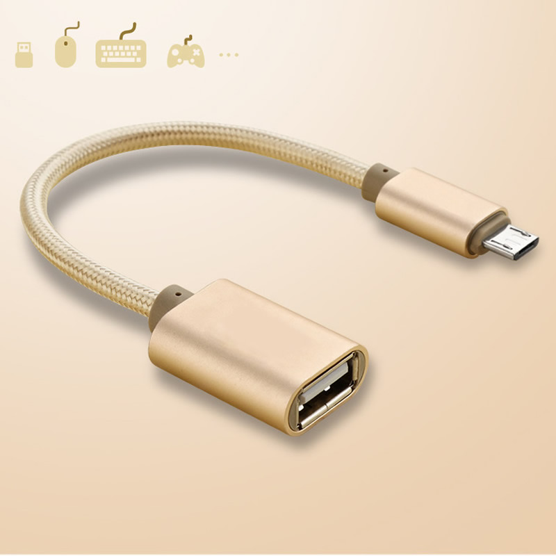 Braid Micro USB To OTG USB 2.0 Adapter Cord For Micro OTG V8 Android LeTV Huawei Oppo Vivo Tablet PC Samsung Smartphone