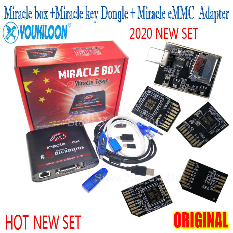 2020 New Original Miracle box +Miracle key Dongle+ALL Boot cable +Miracle eMMC Plus 5 in1 Tool(